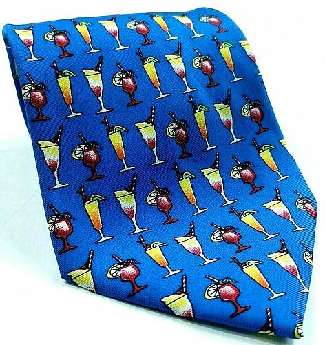 Cocktails Alcohol Mixed Drinks Liquor Booze Refreshments Novelty Silk Tie