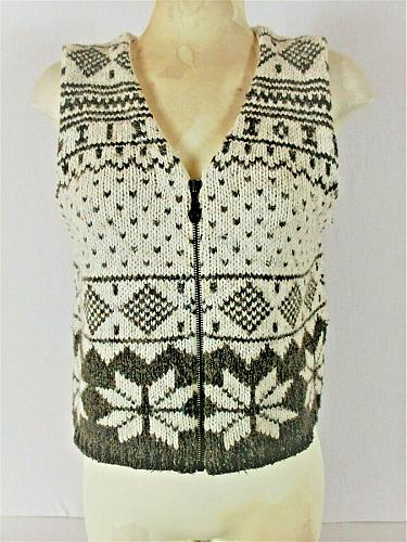 BOUNDARY WATERS womens Small sleeveless WOOL BLEND zip up KNITTED vest (P)