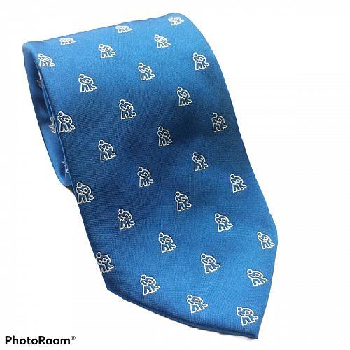Tie Creators Stick People Print Blue White Novelty Necktie