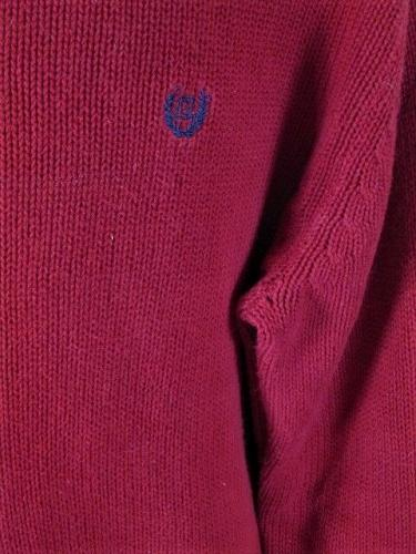 CHAPS MENS Large LONG SLEEVE RED 100% COTTON CREW NECK SWEATER (S)P