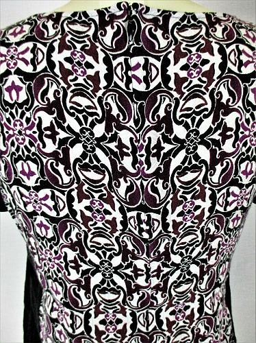 WHITE HOUSE BLACK MARKET womens Sz 2 S/S black purple white ZIPPER back top (V)P
