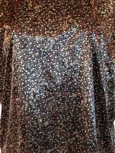 DINA ARIEL WOMENS Large S/S BROWN GOLD KEY HOLE BACK SHINY TOP BLOUSE (J)