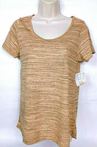 NWT LuLaroe Women's Classic T Gray Orange Short Sleeve Striped Size XS