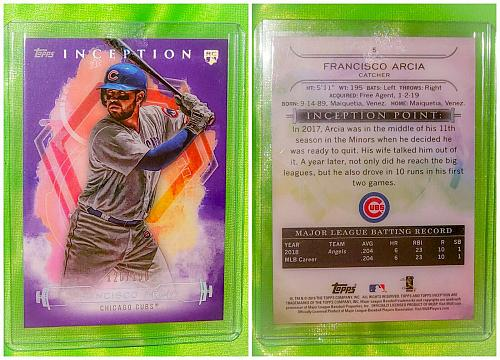 MLB FRANCISCO ARCIA CHICAGO CUBS 2019 TOPPS INCEPTION BASEBALL RC /150 MINT