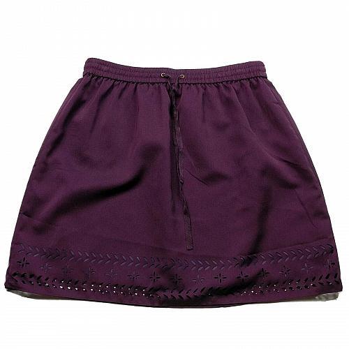J Crew A Line Skirt Pleated Size 4 Purple Lined Elastic Waist Pull On Laser Cut