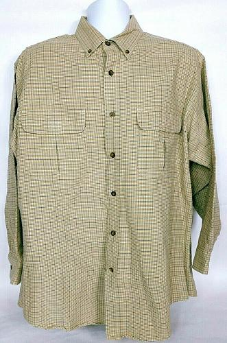 Woolrich Men's British Tan Plaid Shirt Large Button Front Blue Tan Long Sleeve