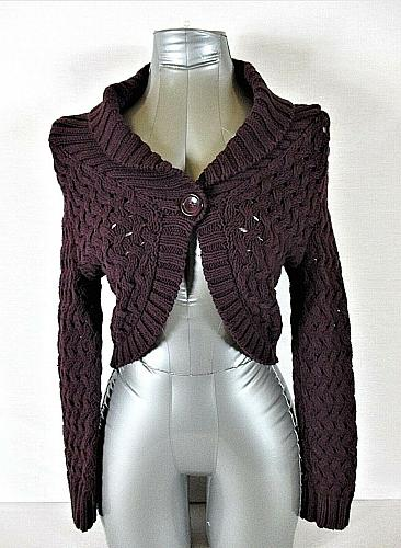EXPRESS womens Small L/S purple crochet CABLE KNIT 1 button SHRUG sweater (A5)