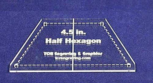 """Half Hexagon Quilt Template 4.5"""" - Clear w/ Center Guideline & Guideline Holes"""