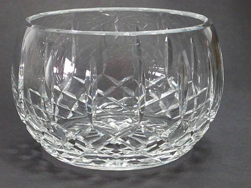 Hand cut glass bowl, 24% lead crystal Great gift or award customize hand polish