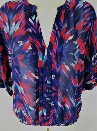 ANA womens Medium 3/4 sleeve red blue purple PLEATED front ELASTIC hem top (A)