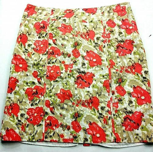 CATO Womens A Line Skirt Size 16 Tan White Orange Floral Lined Side Zip