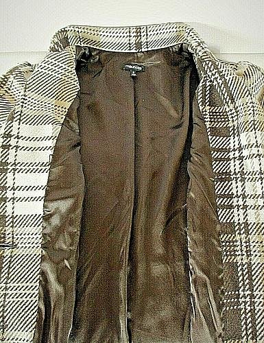 Maurices womens Small L/S brown white plaid WOOL blend button LINED jacket (B8)