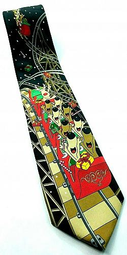 Reindeer Riding Roller Coaster Santa Claus Presents Christmas Funny Novelty Tie