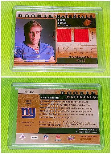 NFL Rhett Bomar New York Giants 2009 Upper Deck SPX Jersey Sp/99 mint