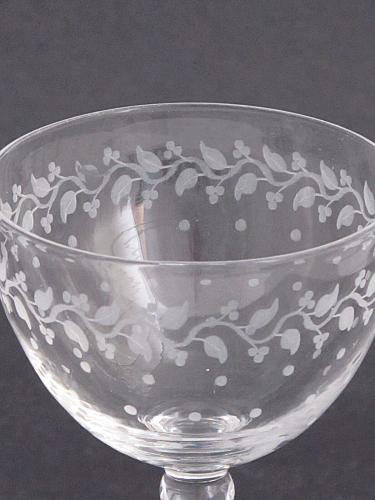 4 copper wheel etched stems glass Hand cut