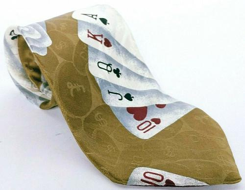 Secours Men's Dress Necktie Playing Card Poker Gambling 100% Silk Novelty
