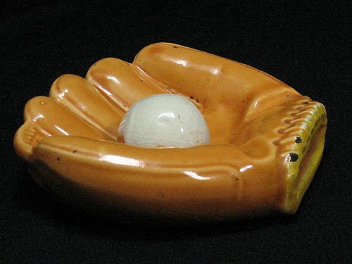 Porcelain Baseball Glove Ball Figural Ashtray Snuffer Vintage Japan