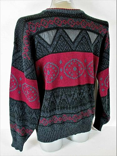 IMPACT mens Large gray red black GENUINE LEATHER TRIM pullover sweater (A7)