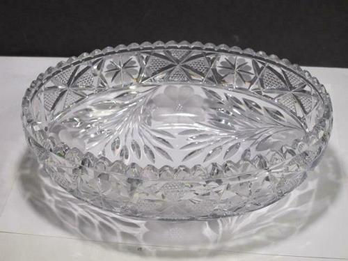 ABP cut glass oval bowl American + Floral 318