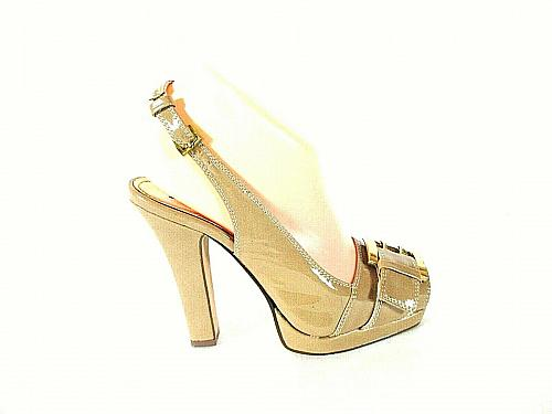 Michael Antonio Beige Patent Sling Back Platform Heels Shoes Women's 6 (SW17)