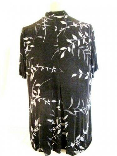 R&M RICHARDS womens Sz 16W petite S/S black gray floral open FRONT jacket (E)