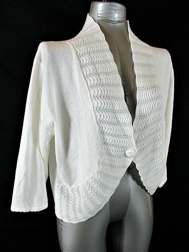 JENNY womens XL 3/4 sleeve white CROCHET TRIM 1 button cardigan sweater (A8)P