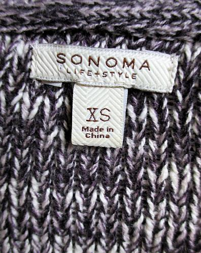 SONOMA womens Sz XS L/S black white CABLE KNIT PULLOVER sweater (A3)