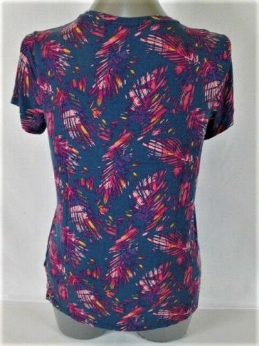 MUDD womens XL S/S BLUE PINK YELLOW V NECK STRETCH TOP BLOUSE (O)M