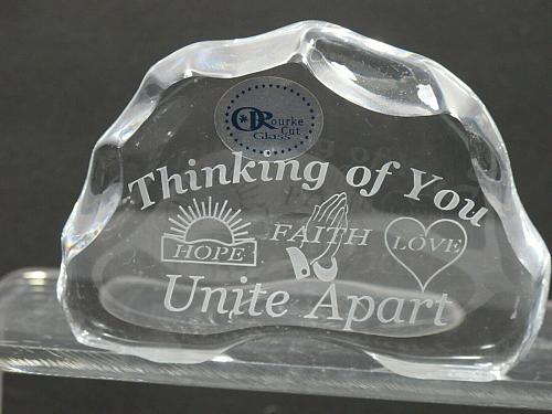 Thinking of you 24% LEAD CRYSTAL PAPERWEIGHT made in USA Hope Faith Love
