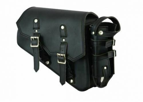 Motorcycle Right Side Swing Arm Solo Bag Black PVC Bottle Ammo Gun Holder New