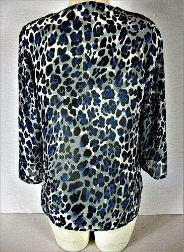 QUINTESSENTIAL womens Small L/S blue gray black BUTTON DOWN sheer top (C3)