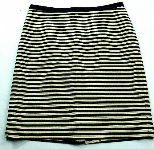 Loft Womens A Line Skirt Size 2 Blue White Striped Lined Back Zip