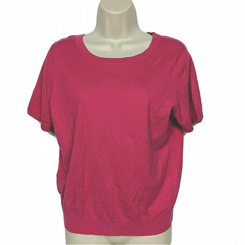 Ann Taylor Petite Blouse Top Size LP Solid Pink Back Tie Short Sleeve