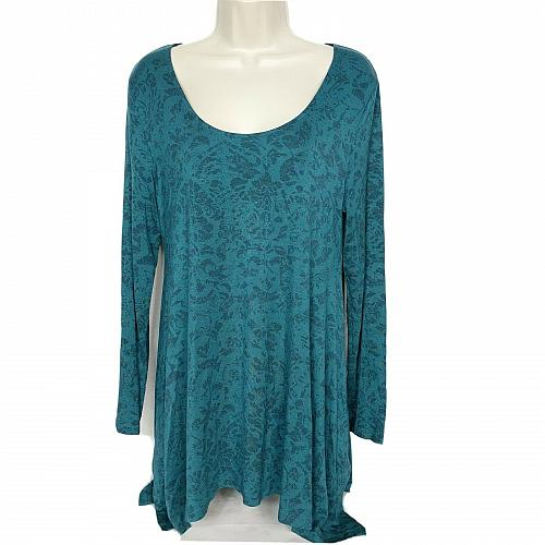 Soft Surroundings Tunic Top Size Small Green Geometric Scoop Neck Long Sleeve