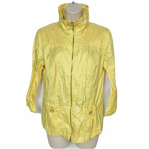 Zenergy By Chicos Womens Windbreaker Jacket Size 0 Small Yellow Long Sleeve
