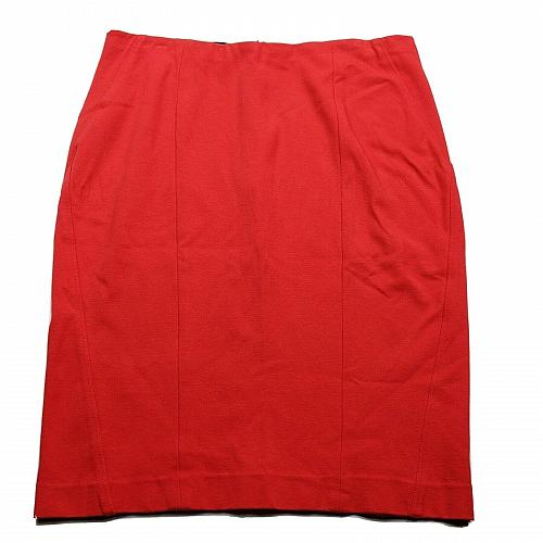 Ann Taylor Womens Pencil Skirt Size 12 Solid Red Orange Back Zip Business Work