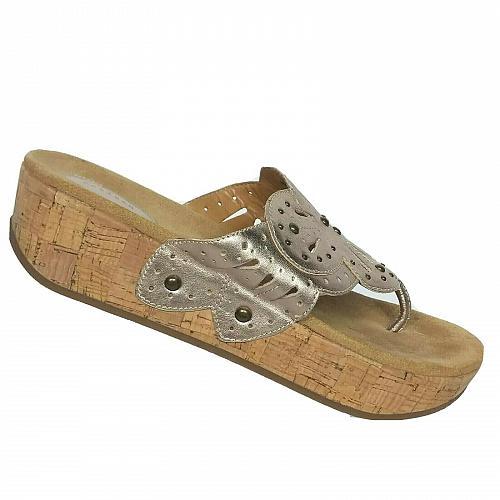Clarks Womens Artisan Palima Palm Gold Studded Cutout Wedge Sandals Size 10 M