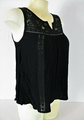 ACEMI womens Medium Sleeveless black CROCHET KNIT floral tank top (S)