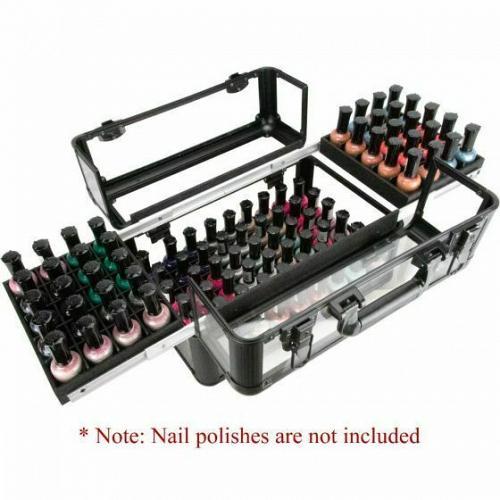 New Black Nail Polish Manicurist Organizer Storage Makeup Train Case Box Travel
