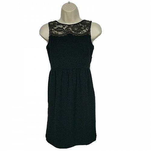Ann Taylor LOFT Petite Sheath Dress 00P Black Scoop Lace Neckline Sleeveless