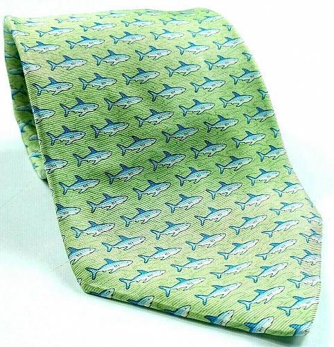 Tommy Hilfiger Shark Print Animal Fish Ocean Sea Nautical Green Novelty Silk Tie