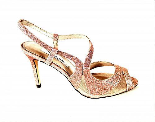 Nina Pink Glitter Dress Strappy Peep Toe Heels Shoes Women's 7 1/2 M (SW4)