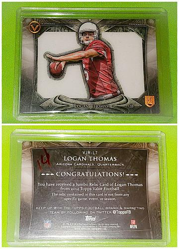 NFL Logan Thomas Arizona Cardinals 2014 Topps Valor Jumbo Rookie Jersey Mint
