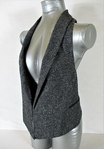 CABI womens Sz XS gray TWEED fully LINED 2 pocket RACERBACK collared vest (A5)
