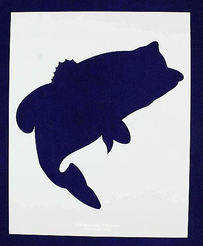 Large Bass Jumping (fish) Stencils -1 pc-Mylar 14mil - Painting /Crafts/ Templat