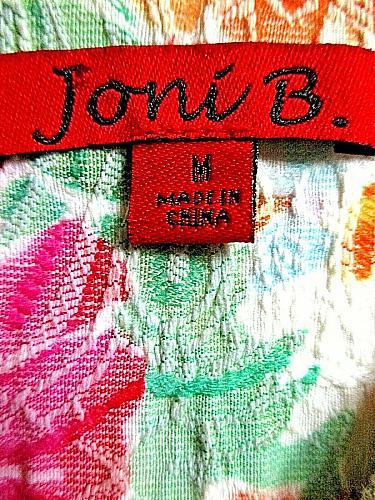 JONI B womens Medium L/S pink orange blue FLORAL button up TEXTURED jacket (B3)P