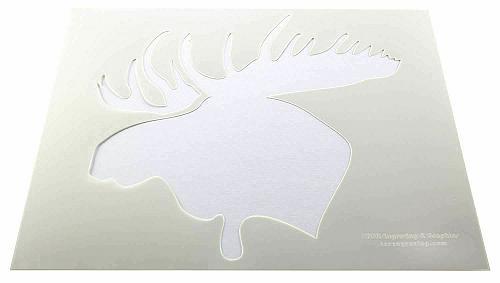 "Moose Head Stencils 2 pc set F/S-Mylar 14 Mil 14""H X 17.5""W - Painting /Crafts/"
