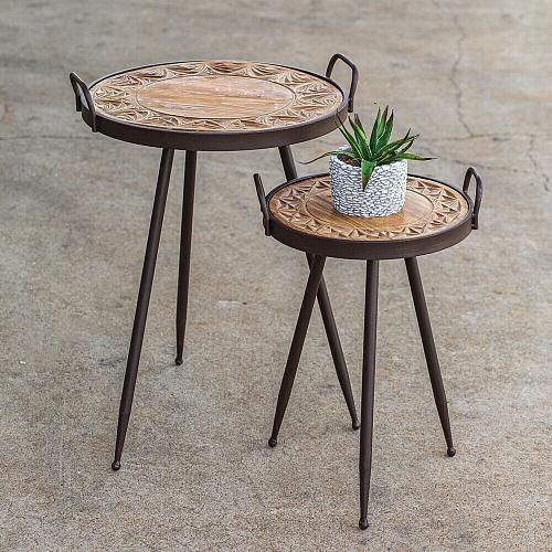 New Set 2 Decorative Wooden Top Bistro Tables Patio Garden Deck Indoor Outdoor