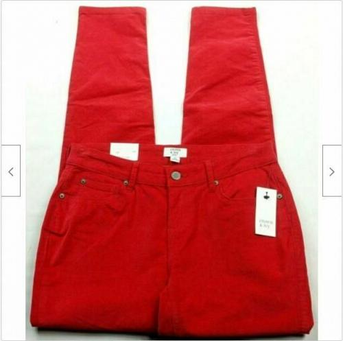 NWT Crown & Ivy Red Hot Lasting Luxe Corduroy Skinny Pants Size 2P Stretch