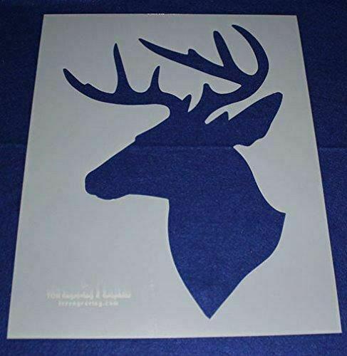 2 Piece Buck-Deer Head Stencils F/S-Mylar 14 Mil Large - Painting /Crafts/ Templ